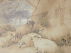 A watercolour, T S Cooper, Sheep in Byre, signed and dated 1839, 34 x 43cm, plus frame and glazed
