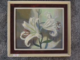 An oil painting on board, attributed to Tuson, lillies, attributed, signed and dated 1962 verso,