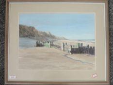 A watercolour, F W Porter, beach scene, 30 x 42cm, plus frame and glazed