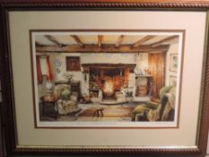 A print, after Judy Boyes, Inside a Lakeland Farmhouse, signed , 26 x 39cm, plus frame and glazed
