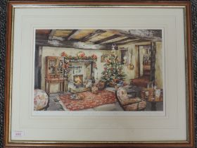 A Ltd Ed print, after Judy Boyes, A Festive Evening at a Lakeland Inn, signed, and num 67/850, 26