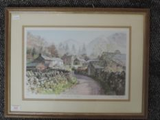 A Ltd Ed print, after Judy Boyes, Early Spring Hartsop, signed and num 64/850, 27 x 40cm, plus frame