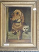 An oil painting on board, Dignity and Impudence, dog interest, 28 x 20cm, plus frame