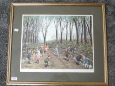 A print, after Tom Dodson, class day trip, signed, 37 x 45cm, plus frame and glazed