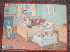 A print, La malade, the patient, 52 x 70cm, plus frame and glazed