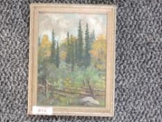 An oil painting, E M Windle, landscape, signed and dated, 1941 and attributed verso, 17 x 12cm, plus