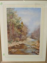 A watercolour, attributed to L M Warden, A Lancashire Beck, initialled, 51 x 35cm, plus frame and