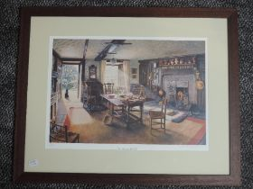 A Ltd Ed print, after Stephen Darbishire, Tea Time at Hill Top, 1995 National Trust centenary,