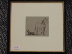 A pen and ink sketch, attributed to Harriet Anne Seymour, dog and horse, 9 x 11cm, plus frame and