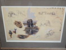 A set of four prints, after Larry Norton, elephants, 3 signed, inc artist proof, each approx 40 x