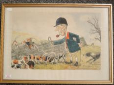 A print, after Wilk, hunting interest, 35 x 50cm, plus frame and glazed