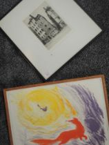 An etching, Walter Keesey, Paris, signed, 22 x 16cm, and a print, fox, 33 x 44cm, each plus frame