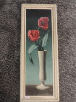 An oil painting, Tusan, tulips in a vase, signed, 60 x 18cm, plus frame