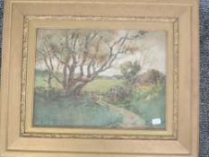 A watercolour, Tom Terris, country lane, signed and dated, 1899, 29 x 39cm, plus frame and glazed