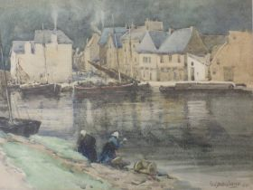 A watercolour, Geo Straton Ferrier, Dinanti Belgium, signed and dated 1896 and attributed verso,