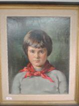 A pair of oil paintings, Bardy Crewdson, portrait studies, Gillian and neckerchief boy,