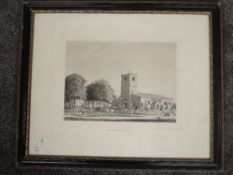 An engraving, after Ralph Croft, Kirkby Lonsdale Church, C19th, 32 x 40cm, plus frame and glazed