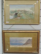 A watercolour, L Monkton, canal landscape, indistinctly signed, 21 x 36cm, plus frame and glazed,