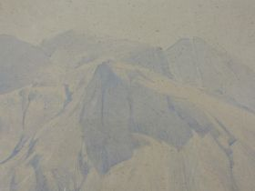 A watercolour, attributed to Heaton Cooper, Scafell Pike, attributed verso, 27 x 37cm, plus frame