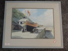 A watercolour, F W Porter, harbour view, signed, 28 x 36cm, plus frame and glazed