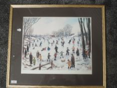 A print, after Tom Dodson, ice skating, signed, 36 x 44cm, plus frame and glazed