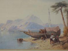 A watercolour, Thomas Miles Richardson, Continental Lake landscape, signed, 21 x 30cm, plus frame