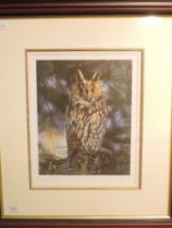 A Ltd Ed print, after, Steven Townsend, Long Eared Owl, signed and num 250/400, 28 x 22cm, plus