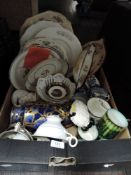 A box full of vintage and antique ceramics including early Davenport pottery.