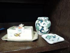 A Masons ginger jar,ash tray and a Royal Winton butter dish.