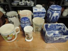 A mixture of vintage and antique ceramics including blue and white Maling planter, novelty mugs