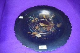 An English papier mache bowl circa 1880 with an asethetic Japanesque decoration