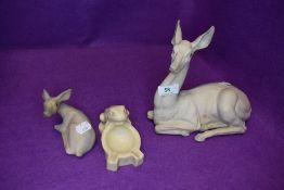 A figure study of a seated deer by Tengra and similar deer AF also a ceramic arts and crafts stonew