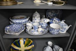 A selection of blue and white wear ceramics including Old Chelsea tea pot and similar