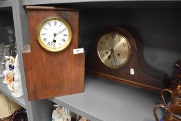 Two art deco mantle clocks including geometric case and Napoleon style