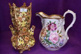A large porcelain Coalport circa 1840 water jug and a Zsolnay Austria vase AF