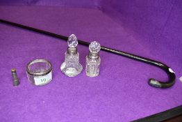 A small selection of glass dressing table items having HM silver fitments also with a bent wood cane