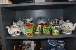 A selection of various Georgian and later tea pots including Hilditch, Gaudy Welsh and Royal