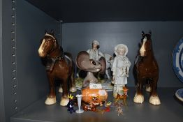 A selection of decorative figurines including two Beswick Shire Mare brown horses 818, nodding