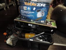 a collection of power tools including belt sander also spray paint guns and more.