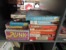 Twelve vintage games including Waddingtons Sorry, Formula 1, Cluedo and Monopoly, Parker