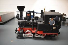 A Lehmann LGB G scale 0-4-0 Tank Engine 19, in black and red with driver 2774