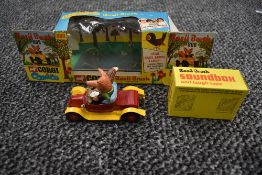 A Corgi diecast, Basil Brush and his Car on card display stand, laugh tape and sound box present, in