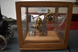 A well engineered German Stirling Technik style Live Steam Twin Cylinder Engine, missing name plate,