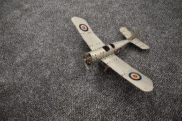 A Meccano hand built model Monoplane, RAF in grey