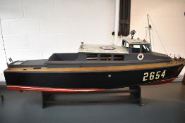 A hand built wooden Futaba radio controlled model RAF Air Sea Rescue launch boat, numbered 2654,