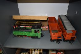 A LGB Lehmann G scale No 2073 0-6-2 Tank Locomotive in green with two drivers along with two OBB