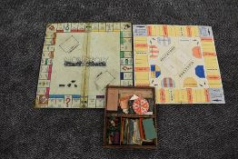 A 1930's Monopoly Board game having Patent Applied No 3796/36 on board and on some of the notes,