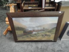 A framed print, LMS The Royal Scot 6100 with eleven carriages, in action passing through the