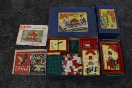 A vintage Bayko Building Set no 2 and a Bayko Converting Set 2X, both appear complete with inner