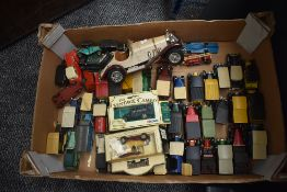 A box of playworn diecasts including early Dinky Royal Mail Van and Riley 40A, modern Matchbox and